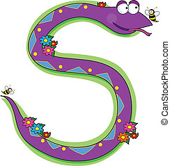 Animal Alphabet S - A snake in a garden looking at a bee. It...