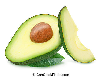 Two slices of avocado with leaves isolated on the white...