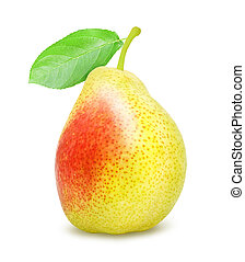 Pear with green stem. - Fresh ripe pear with green stem...