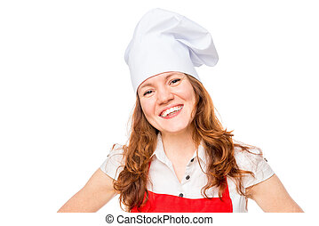 Portrait of a happy chef in a cap on a white background