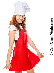 chef showing his red apron, portrait on a white background