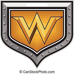 Gold Letter W Shield Retro