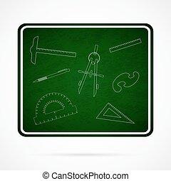 Vector School Elements on Green Chalkboard.