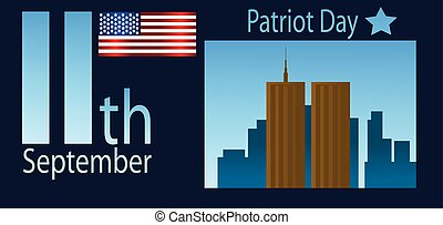 Vector Patriot Day, with usa flag and twin towers