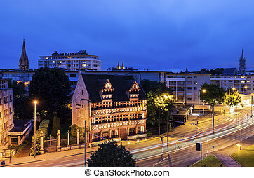 Panorama of Caen at evening. Caen, Normandy, France.