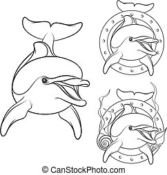 Set of dolphin logo design element. Isolated vector objects...