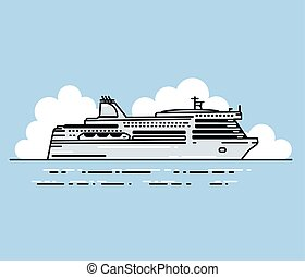 Ferry boat and clouds in linear stile. - Ferry boat and...