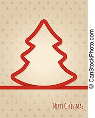 Christmas greeting card with red ribbon tree - Christmas...