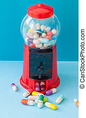 Pills with happy faces - Colorful pills with happy faces,...