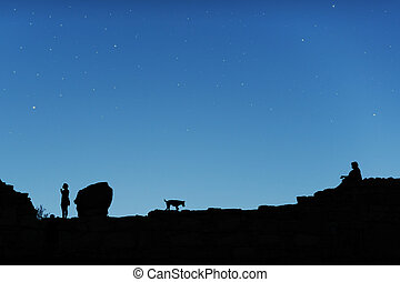 Starry sky and men with dog - Blue starry sky and men with...