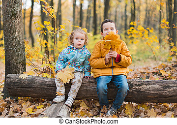 Joyfull kids in autumn forest - Joyfull kids sitting on log...
