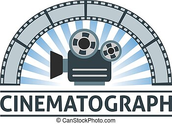 cinematograph - Flat emblem of camera and film. Eps 10