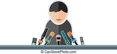 speech - Flat image of man with microphones in the...