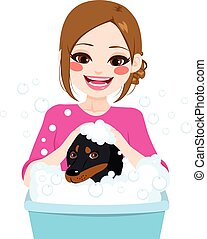 Professional Pet Groomer - Young professional pet groomer...