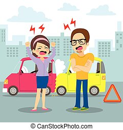 Car Accident Argument - People having an argument on a...