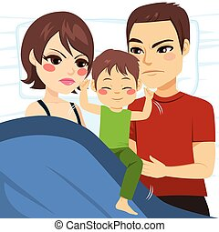 Parents Unable To Sleep - Illustration of upset parents...
