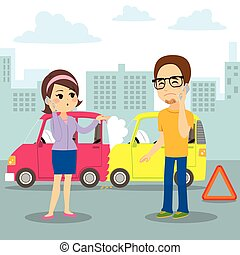 Car Collision Report - Man and woman calling car insurance...