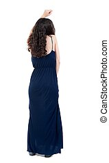 back view of dancing young beautiful woman. - back view of...