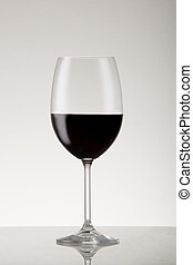Burgundy style red wine glass with pinot noir.