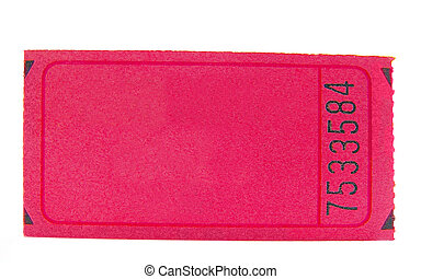 blank pink ticket stub, closeup isolated on white