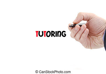 Tutoring text concept isolated over white background