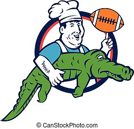 Chef Twirling Football Carry Alligator Circle Retro