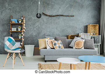 Cyan in cosy interior - Modern minimalistic and bright...