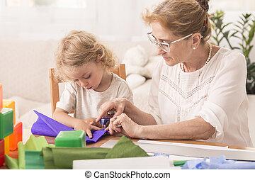hacer, artesanías, con, niñera