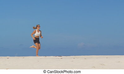 camera following running woman