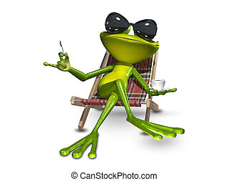 3d Illustration frog with a cup of coffee - 3d Illustration...