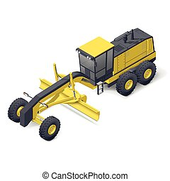 Motor grader icon - Motor grader isometric detailed icon...