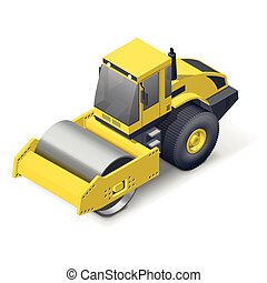 Soil compactor icon - Soil compactor isometric detailed icon...