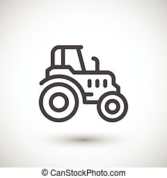 Agricultural tractor line icon isolated on grey Vector...