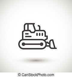 Crawler bulldozer line icon isolated on grey Vector...