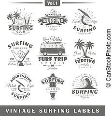 Set of vintage surfing labels. Vol.1