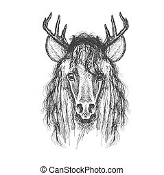 Psychedelic hand-drawn sketch Illustration of Horse face...