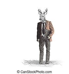 Skech of hipster deer business person on White Backgroud