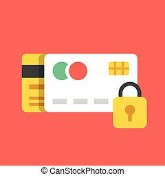 Flat credit cards and lock icon - Credit cards and lock...