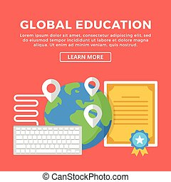 Global education, e-learning Modern concepts, flat icons set...