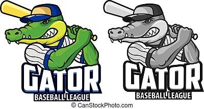 Gator Baseball Cartoon Mascot - Vector Illustration of Angry...