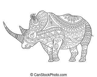 Rhinoceros coloring book for adults vector - Rhinoceros...