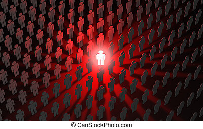 Individual (symbolic figures of people). Standing Out from the Crowd. 3D illustration render
