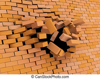 brick wall crash - abstract 3d illustration of brick wall...