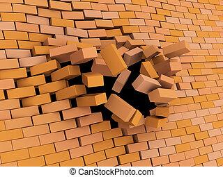 brick wall crash - abstract 3d illustration of brick wall...