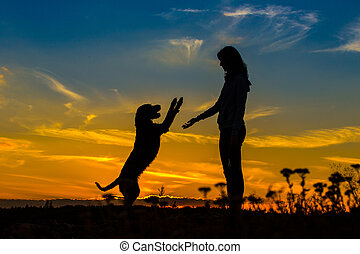 A silhouette of a young woman and her mutt dog. - A...