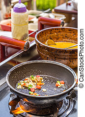 Cooking Omelet in Pan