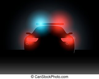 Police car in the dark with the included headlights.