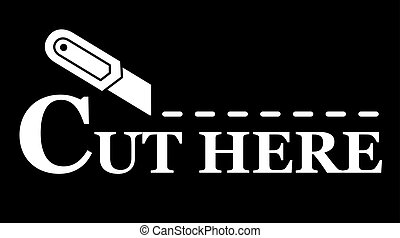 knife silhouette with dotted line on black background