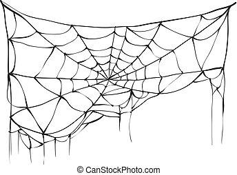 Torn spider web on white background