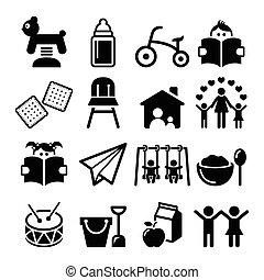 Baby or toddler in nursery - Vector icons set - kindergarten...